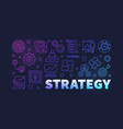 strategy colored outline banner on dark vector image vector image