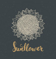 sunflower sketch with lettering vintage label vector image vector image