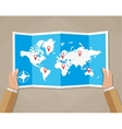 Travel world map in hands vector image vector image