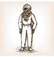 Vintage diver man with diving dress sketch vector image vector image