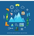 Winter vacation flat icon set vector image