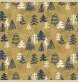 xmas seamless pattern hand-drawn christmas trees vector image vector image