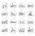 Building Factory Outline Icons vector image