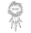 Boho indian decorative wreath sketch vector image