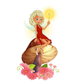A fairy holding a wand sitting above a giant vector image vector image