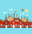 abstract town with factory on background vector image vector image