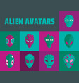 alien avatars flat style vector image vector image