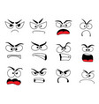 angry human face icon of upset emoticon and emoji vector image vector image
