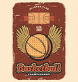 basketball sport ball with wings retro poster vector image vector image