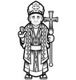 bishop line art vector image vector image