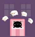 black cat sleeping jumping sheeps cant sleep vector image vector image
