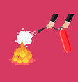 businessman with fire extinguisher is fighting vector image vector image