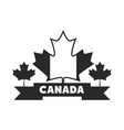 canada day flag maple leaves ribbon national vector image