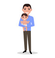 cartoon father alone with a child vector image vector image