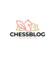 chess blog logo vintage classic badge emblem vector image