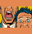 close-up of eyes and mouth men cry panic face vector image vector image