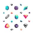 Color crystals diamond shapes polygon stones vector image vector image
