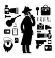 detective icons isolated on white background vector image