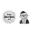dog santa claus in hat coat happy new year vector image vector image