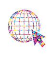 earth globe with cursor stained glass vector image vector image