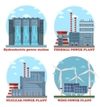 Factory energy stations buildings Water power vector image