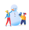 flat boys kids making snowman at winter vector image vector image