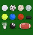 flat sport ball set balls on green background vector image vector image