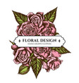 floral bouquet design with colored roses vector image vector image