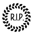 funeral wreath with rip label rest in peace vector image