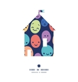 funny faces house silhouette pattern frame vector image