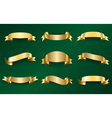 Gold ribbons set on green 1 vector image vector image