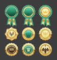 green award rosettes and gold medals - prize vector image vector image