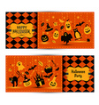 Halloween banners set on colors background vector image