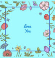 hand drawn flowers background vector image vector image
