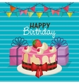 happy birthday invitation with sweet cake vector image vector image