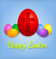 Happy Easter eggs card with cross symbol vector image