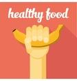 healthy food hand with banana vector image vector image