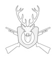 Hunting trophy taxidermy deer head line-art vector image