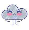 kawaii nice happy cloud with arms vector image vector image
