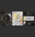 luxury wedding invitation cards with marble golden vector image