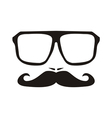Men face with mustache and black hipster glasses