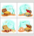 mermaids treasures in chest at bottom of sea set vector image