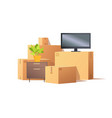 move in relocation furniture and boxes vector image