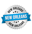 New Orleans round silver badge with blue ribbon vector image vector image