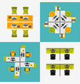 office workplace top view set vector image