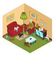 old lady dogs isometric composition vector image vector image