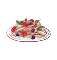 pasta with tomato and olive isolated icon vector image