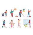 people cleaning housework cleaning company vector image vector image