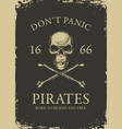pirate banner with skull and crossbones vector image vector image