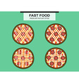 Pizza set with a salami in flat style vector image